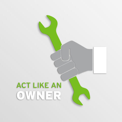 "hand holding a wrench with text ""Act Like An Owner"""