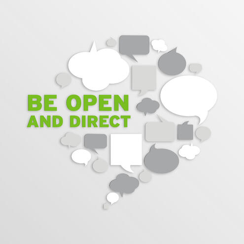 "word bubbles with text ""be open and direct"""