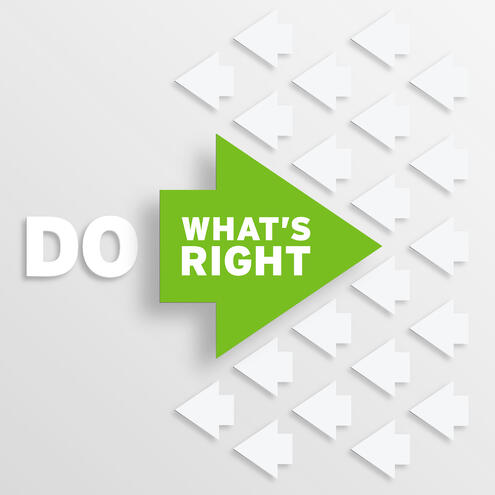 "white arrows point left & 1 green arrow points right with the text ""do what's right """