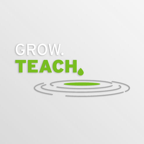 "ripples in a pool of water with the text ""Grow Teach"""