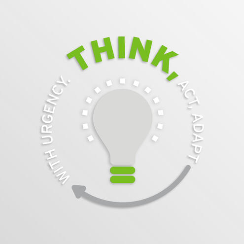 "light bulb surrounded by text that says ""think, act, adapt with urgency"""